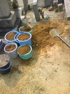 穴を掘りお骨交じりの土を新しい墓地に運搬。